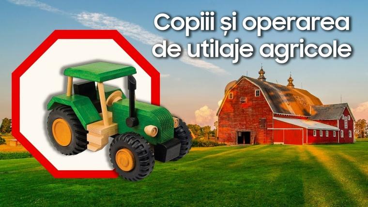 Condusul unui tractor, o joacă de copii